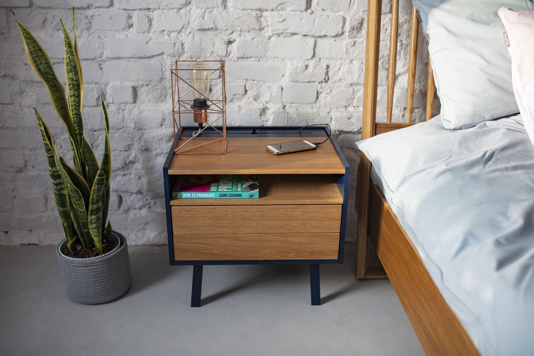 premium selection 66ab4 35508 DIAMOND Bedside Table - 50x40x47cm - Oak Veneer / Navy Blue ...