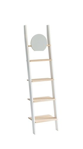 ASHME Ladder Shelf with Mirror 45x180cm - Ashwood Shelves/White