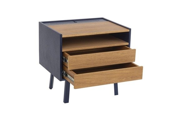 DIAMOND 2 Drawer Bedside Table - 50x40x47cm - Oak / Navy Blue