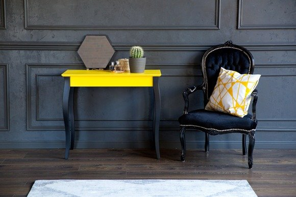 LILLO Console Table - 85x35cm Black Legs / Light Turquoise