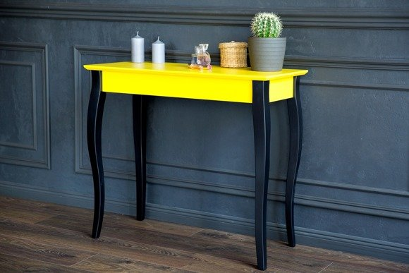 LILLO Console Table - 85x35cm Black Legs / Yellow