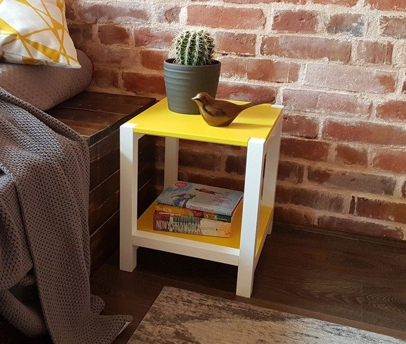 TRIVENTI Bedside Table/Stool - yellow/white legs