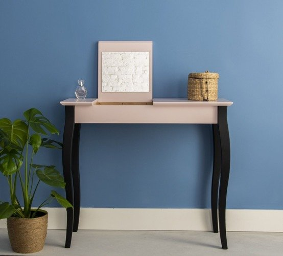 LILLO large Dressing Table - dusky pink/black legs