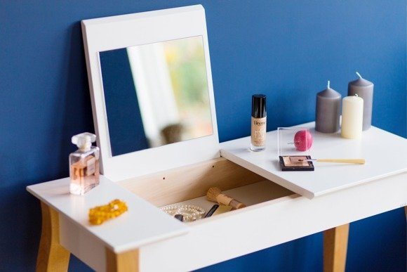 LILLO small Dressing Table with Mirror - white/black legs