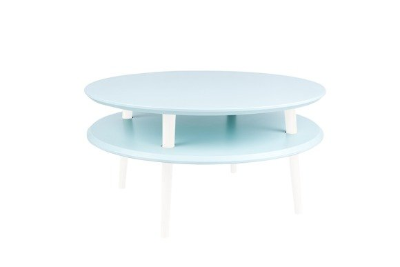 UFO Coffee Table Diam 70cm x Height 35cm - Light Turquoise/White