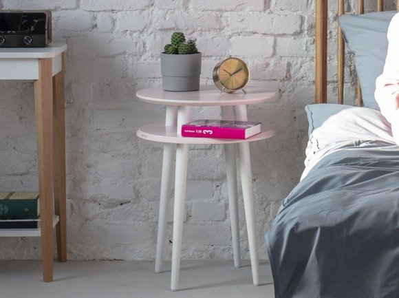 UFO Side Table diam. 45cm x height 61cm - Dusky pink/white legs