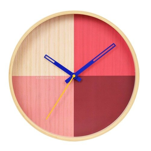 Flor Wall Clock - Birch Wood / Red