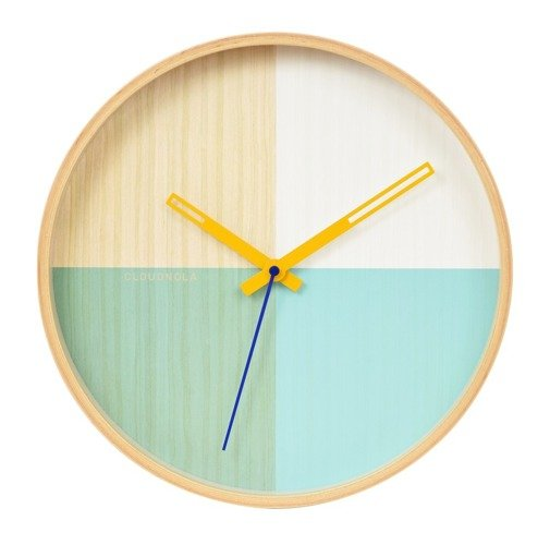 Flor Wall Clock - Birch Wood / Turquoise